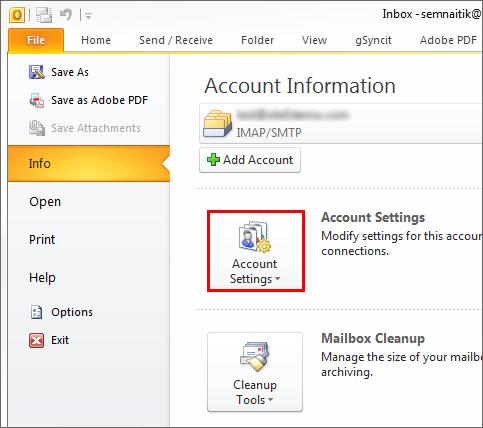 Outlook error resolve in account settings