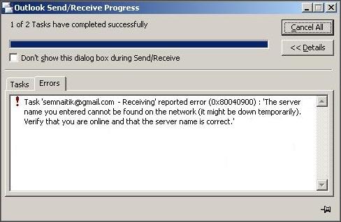 0x80040900 Error in Outlook
