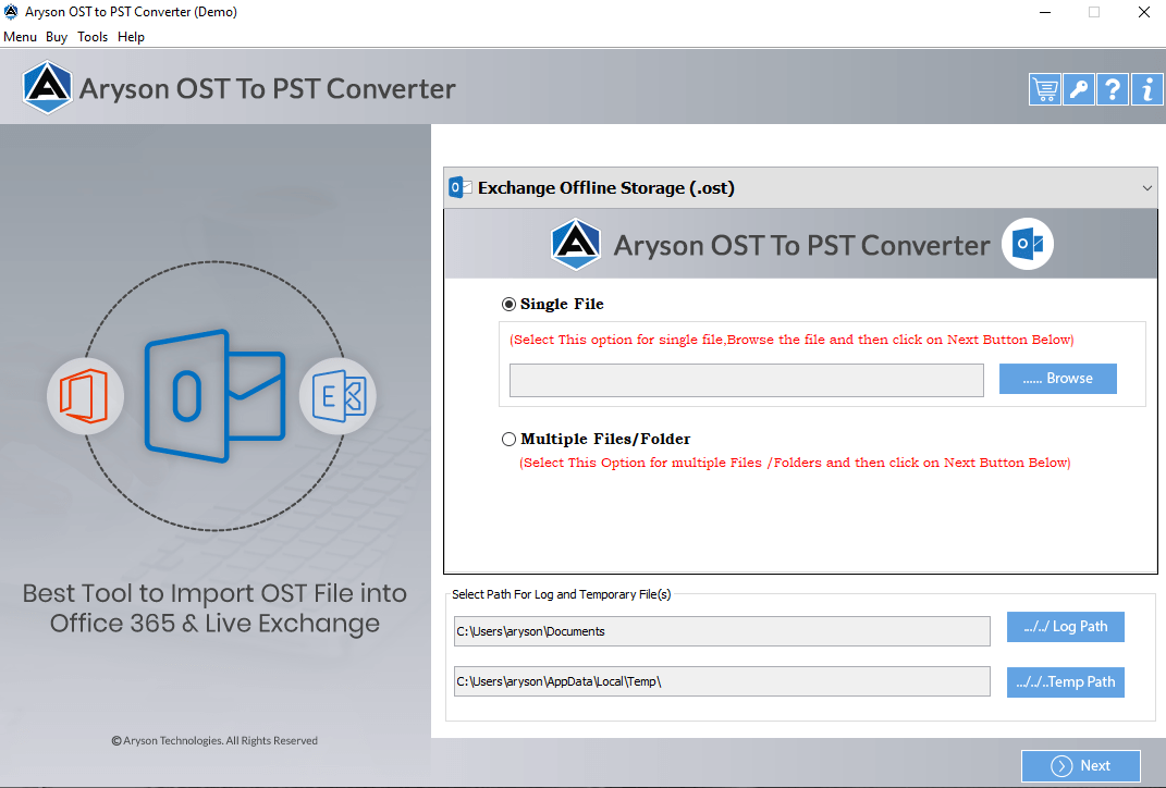 Download and run the OST to PST converter. Click on Open in the menu bar and then on browse button to select the OST file.