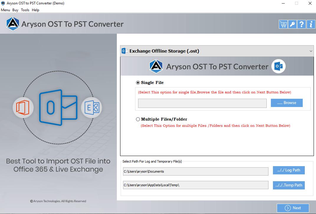 OST to PST Converter full screenshot