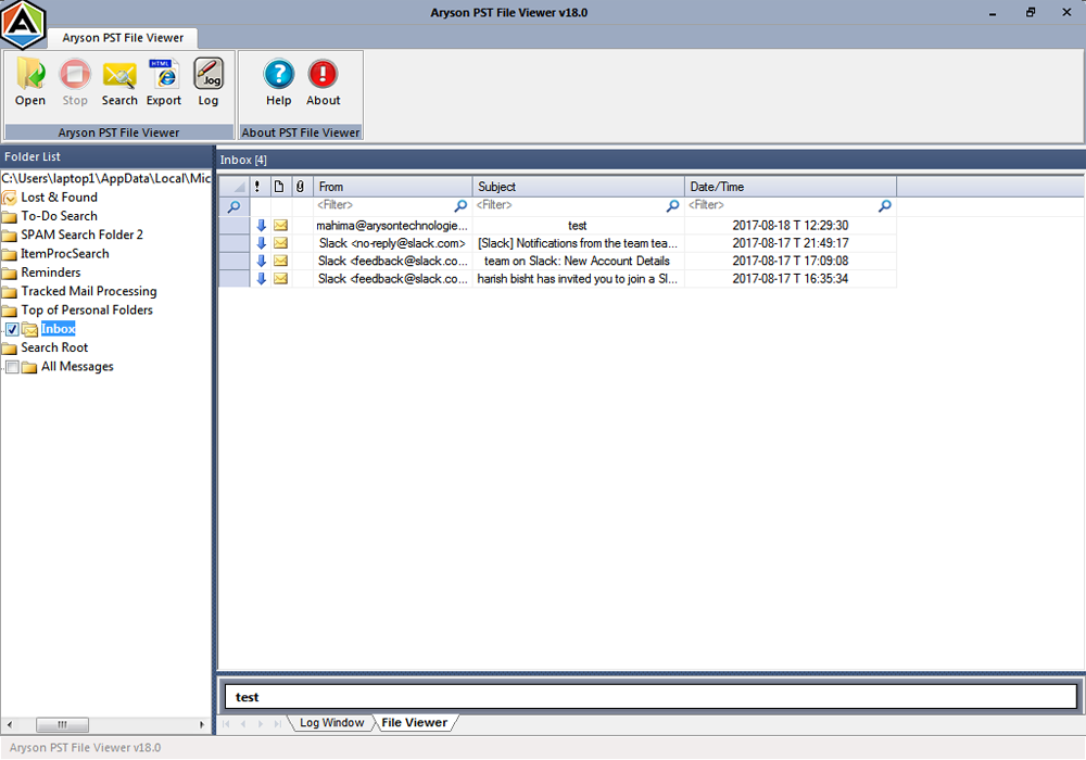 free PST file viewer tool