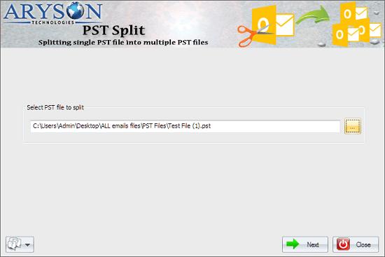 Click to view Outlook PST Splitter 17.0 screenshot